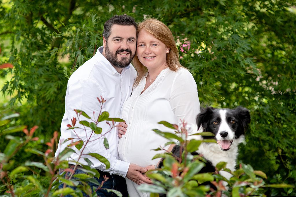 father and mother to be enjoying a photoshoot with their collie sat beside them