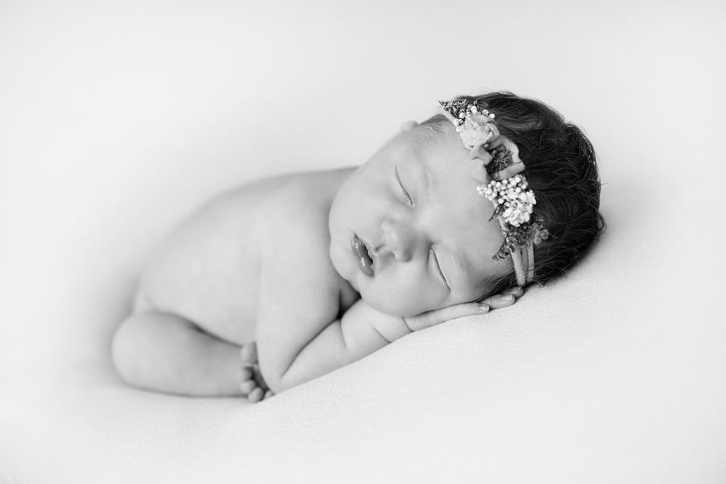 newborn baby black and white photo