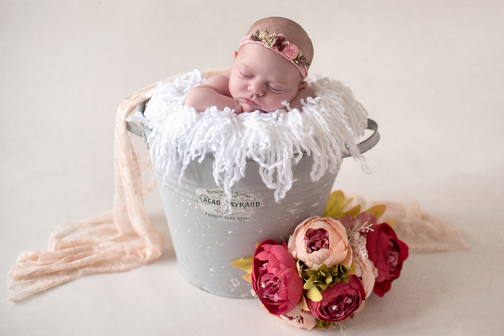 newborn baby asleep in a bucket in a professional photoshoot by Kelly McCambley