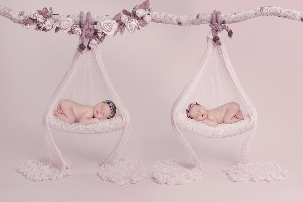 twin newborns sleeping in their own hammock prop